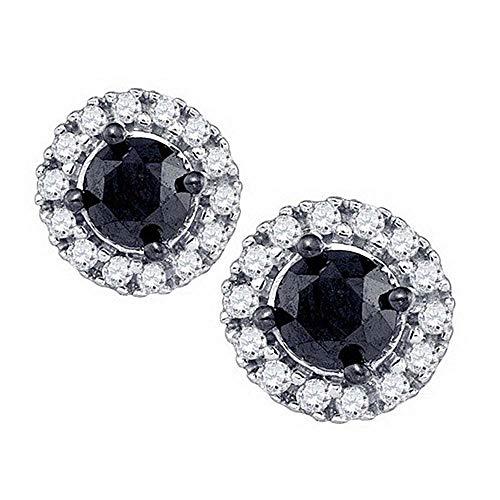 Mia Diamonds 10kt White Gold Womens Round Black Color Enhanced Diamond Solitaire Circle Frame Earrings (1.03cttw) (I2-I3) (Diamond Frame Solitaire)