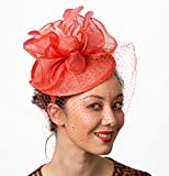 Kentucky Derby Coral Fascinator Hat Veil Headband