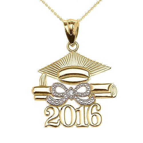 Collier Femme Pendentif 14 Ct Or Jaune Classe De 2016 Graduation Casquette avec Diamant (Livré avec une 45cm Chaîne)
