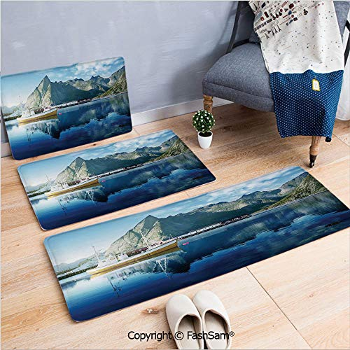 3 Piece Flannel Doormat Sunset in Norwegian Lake by Fjords Formation Yacht Fishing Arctic Harbor Island for Kitchen Rugs Carpet(W15.7xL23.6 by W19.6xL31.5 by W19.6xL59)