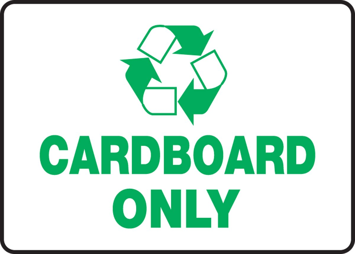 Accuform MPLR558VA Aluminum Recycle Sign, Legend ''CARDBOARD ONLY'' with Graphic, 10'' Length x 14'' Width, Green on White