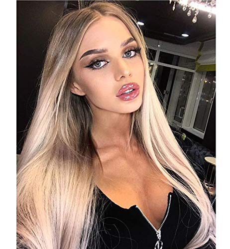 Vedar 2019 New Design - Flawless V Shape Widow's Peak - Realistic Foggy Brown Rooted Platinum Blonde Lace Front Wigs for Women Silky Straight Hair Wig 22 inches Transparent ()