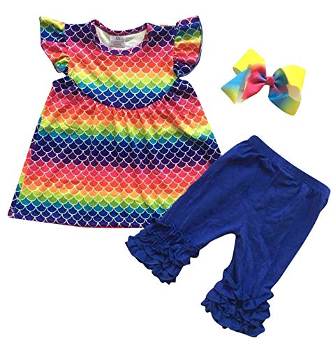 Unique Baby Girls Mermaid Rainbow Summer Outfit Ruffle Capri Set (2t/XS)