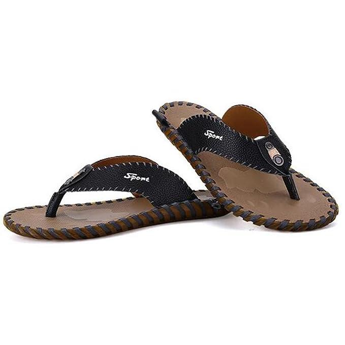 Männer Pantoffel Mode Rindsleder Flip Flops Anti-Rutsch langlebig und komfortable Sandalen , brown , 42