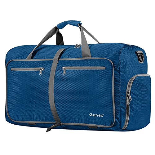 Gonex 80L Packable Travel Duffle Bag, Large Lightweight Luggage Duffel (Deep Blue)