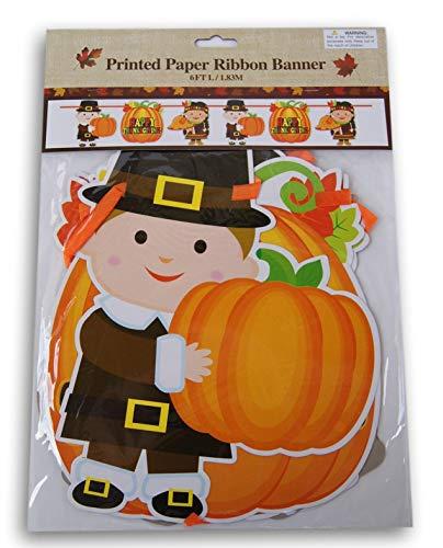 Regent Pilgrim Happy Thanksgiving Autumn Fall Party Decor Paper Banner - 6 Ft Long -