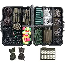 Carp Fishing Tackle Kit with Swivels/Hooks/Sleeves/Rubbers Tubes/Lead Clips/Beads/Hair Rigs/Hair Extender Stoppers Set (225pcs/box)