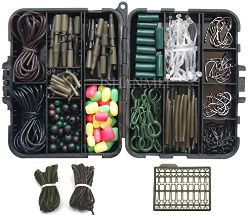 JSHANMEI Carp Fishing Tackle Kit with Swivels/Hooks/Sleeves/Rubbers Tubes/Lead Clips/Beads/Hair Rigs/Hair Extender Stoppers Set 225pcs/box