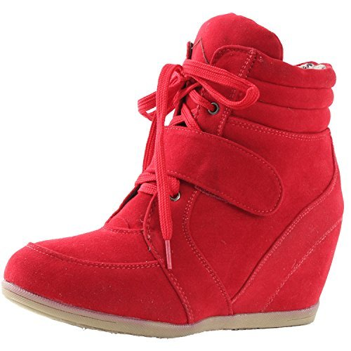 b5513cfc1ebc5 Reneeze BEATA-02 Womens Wedge Sneaker Booties,7 B(M) US,Red ...