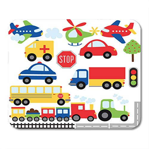 """Semtomn Gaming Mouse Pad Train Car Toy Plane Clipart Transport Cartoon Truck 9.5""""x 7.9"""" Decor Office Nonslip Rubber Backing Mousepad Mouse Mat"""