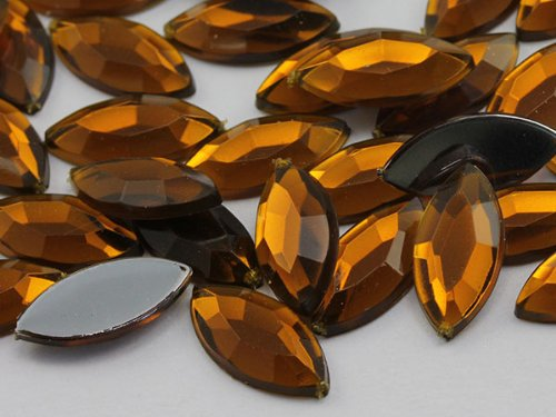 (15x7 Smokey Topaz .SZ Flat Back Navette Acrylic Jewels Pro Grade - 40 Pieces)