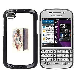 TopCaseStore / la caja del caucho duro de la cubierta de protección de la piel - Swimsuit Model Lady Girl - BlackBerry Q10