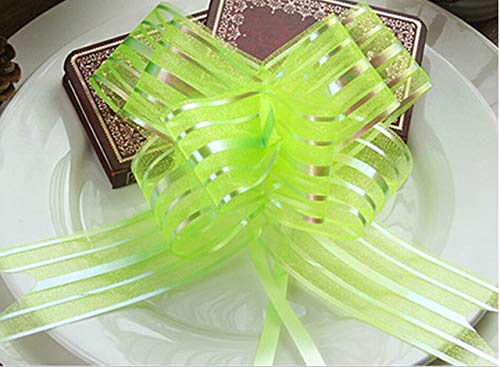 Jammas 10pcs/lot 84.5cmX5cm Organza Pull Bows Gift Ribbon Butterfly Thighed Hand Flower Garland DIY Wedding Car Sheer Garland 8 Colors - (Color: Green)