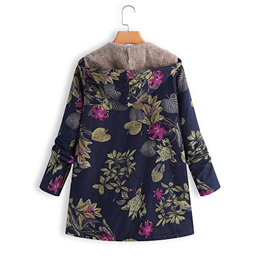 pour imprimé manteaux longues Vintage chandails avec en capuche floral à Tas Beikoard Vêtements marine d'hiver peluche manteau Vintage et manches femmes surdimensionnés rétro UxvwZq5