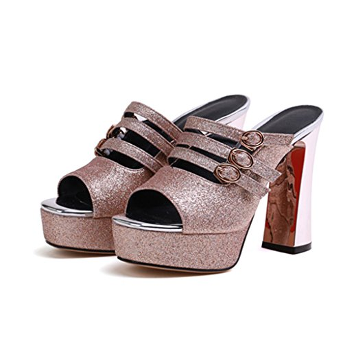 Heel Sequined Women's Thick Heels Shoes Cloth Upper Fashion Gold Summer High Sandals vfw5qRzn