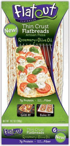 Flatout Thin Crust Flatbreads Artisan Pizza 10.2 Oz (Rosemary Olive Oil, Pack of 4)