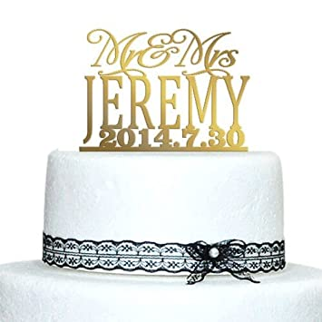 Amazon buythrow unique wedding cake toppersgold cake topper buythrow unique wedding cake toppersgold cake toppermr and mrs last name and junglespirit Gallery
