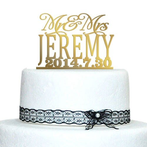 Buythrow Unique Wedding Cake ToppersGold TopperMr And Mrs Last Name Date Custom Decorating Supplies Silver