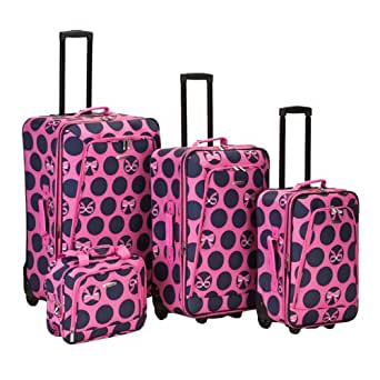 4 Piece Luggage Set Pattern: Blue Ribbon