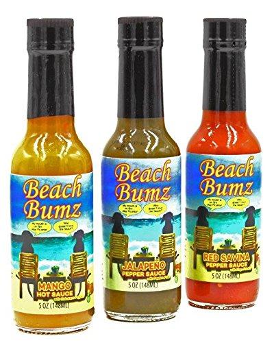 Beach Bumz Pepper Sauce (Mango, Jalapeno, Red Savina)''3 Pack Special''.Mild, Medium & Hot by Beach Bumz