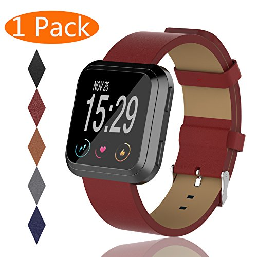 Buckle Leather Wristband (KingAcc Fitbit Versa Leather Bands, Genuine Leather Replacement Band for Fitbit Versa, With Metal Buckle Fitness Wristband Strap Women Men (1-Pack, Wine Red))