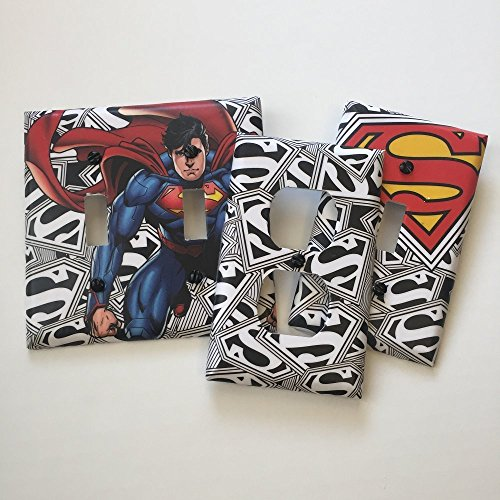 Cover Bedroom Outlet (Superman on Black/white logo,bedroom, bathroom, light plate cover,light switch plate, outlet cover, outlet plate, home decor, wall art)