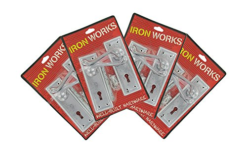 IRON WORKS 0071 6-Inch Chrome Finish Georgian Rope Style Lock Door Handles (4 Pair) by Iron Works