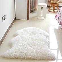 yazi Deluxe Soft Faux Sheepskin Chair Cover Mat Wool Rug Bedroom Faux Mat Soft Hairy Fur Plain Fluffy Area Shaggy Carpet Washable Purple 23x35 inch (60cm×90cm)