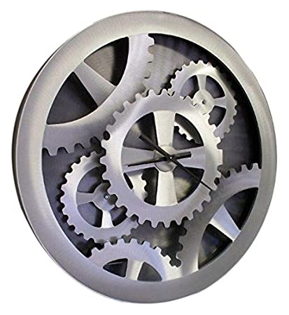 f4bd3950554d Amazon.com: NOVA of California Silver Gears Moving Wall Clock: Home ...