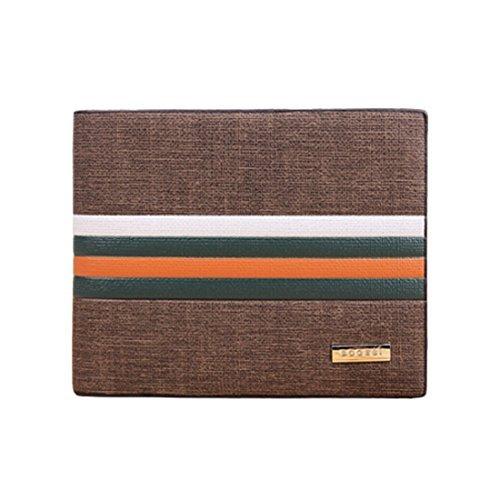 BESSKY Men's Business Striped Short Section Leather Wallet Sets Credit Card Wallet Card Holder Purse Bag Gift