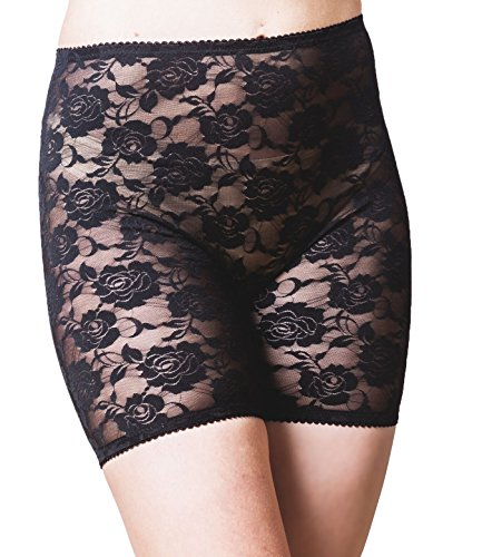 Lace Stretch Tights - Bandelettes Anti-Chafing Lace Panty Shorts - Prevent Thigh Chafing: Elegance Pants Black L