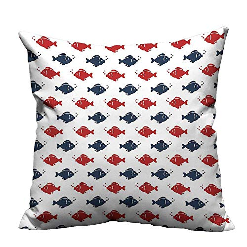 YouXianHome Decorative Couch Pillow Cases Small Fishes Swimming Bubbles Symmetrical Underwater Aquarium Design Navy Blue Red White Easy to Wash(Double-Sided Printing) 31.5x31.5 inch ()