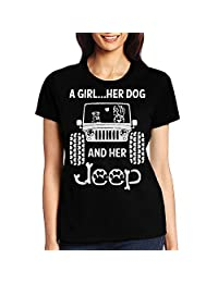 TX TX 2X Women's O Neck T Shirt Tees/A Girl Her Dog and Her Jeep