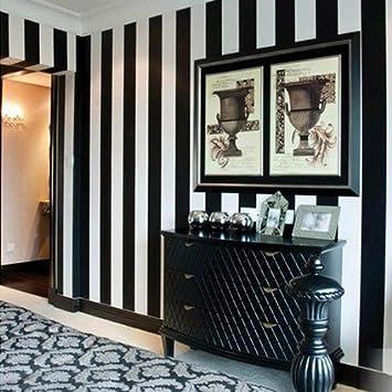Moderne simple Noir et blanc Rayures verticales papier peint ...