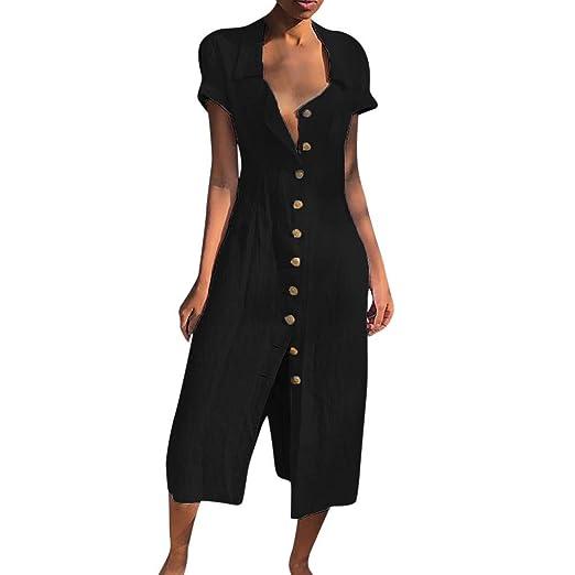 Go First Vestido Casual con Cuello Abotonado para Mujer Vestido ...