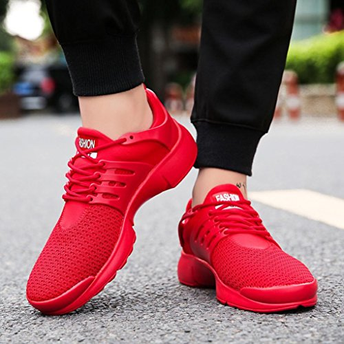 Sneakers Casual Wedge Outdoor VEMOW Running Thongs Fashion Shoes up Flops Men's Men Espadrilles Women Mesh Beathable Walking Flats Trainers for Lace Flip Shoes Red Sports wTq7nwBF