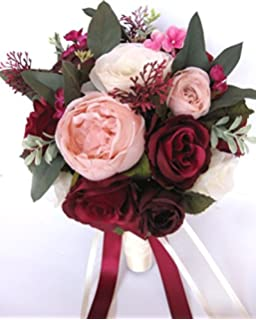 Amazon wedding bouquets bridal silk flowers burgundy wine pink wedding bouquet 17 piece package bridal bouquets silk flower bouquet burgundy pink blush eggplant plum wine mightylinksfo
