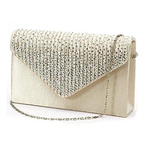 IEason bag, Ladies Large Evening Satin Diamante Ladies Clutch Bag Party Envelope Bag (Beige) -