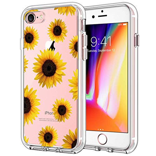 GoldSwift Clear Case with Designed for iPhone 8, iPhone 7, iPhone 6S and iPhone 6 (Sunflower)