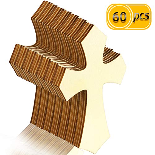 BcPowr 60PCS Unfinished Wood Cutout, Cross Shaped Wood Pieces, Hanging Cross for DIY Craft, Sunday School, Church, Religious Home Decoration, 7110.3CM]()