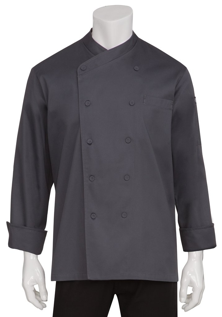 Chef Works Men's Anguilla Executive Chef Coat, Charcoal, X-Small by Chef Works