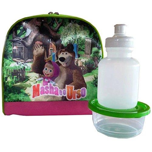 Lancheira Térmica Masha e o Urso com potinho e garrafinha