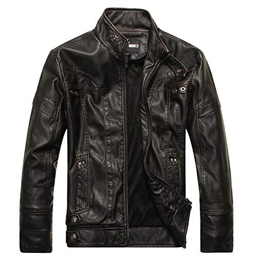 (Caopixx Men Jacket Casual Men's Casual Zip Up Slim Bomber Faux Leather Jackets Coats)