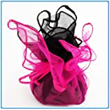 12x Designer Organza Gift Bags for Weddings & Party Favors - 11 inch square - Hot Pink and Black