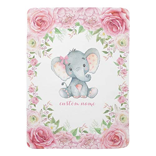 UOOPOO Personalized Baby Name Blanket - Pink Roses Baby Elephant - 30 X 40 - Fleece Blanket - Baby Birth Announcement Gifts ()