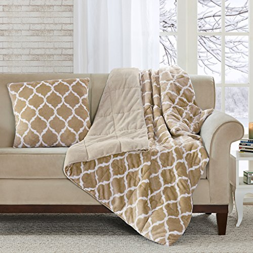 Madison Park Ogee Luxury Oversized Down Alternative Throw Tan 60x70   Geometric Premium Soft Cozy Mircolight Plush For Bed, Couch or Sofa