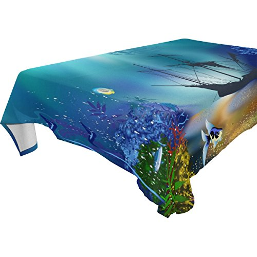 Marine Blue Pool Tablecloth (ZOEO 100% Fabric Polyester Tablecloth,Marine Moti Ocean Dolphin Tropical Fish Coral,Everyday Table Cover For Restaurant,Kitchen,Party & Picnic,60x90)