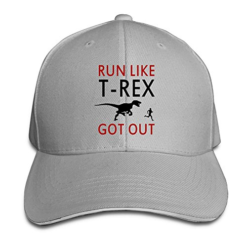 Run Like T-Rex Got Out Casual Unisex Unstructured Cotton Cap Adjustable Baseball Hat Cap Ash