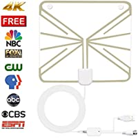 TV Antenna,SENQIAO Indoor Amplified HDTV Antenna 50 Mile Range with Detachable Amplifier Signal Booster,USB Power Supply and 16.5ft Coax Cable-Thin, Light, Better Reception