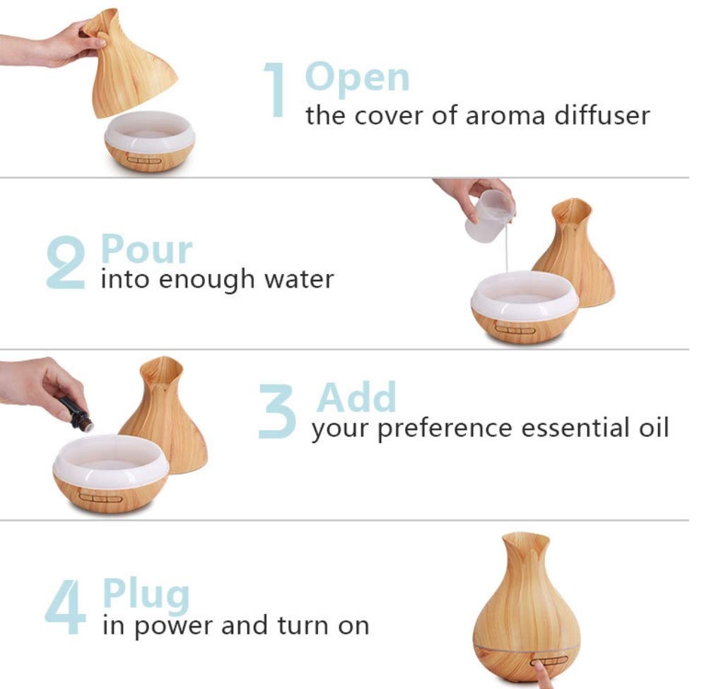 JLA Essentieller /ÖlDiffuser 400ml Aroma Diffuser Ultraschall-Humidifier Air Purifier 7 Color Led Office Home Bedroom Wood Grain Vase Shape Licht Holz